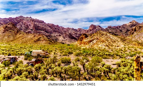 El Dorado Canyon, Nevada/USA - June 10 2019: Vintage vehicles used in several old movies are still on display in the old mining town of El Dorado in the Eldorado Canyon in the Nevada Desert