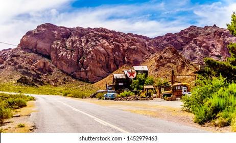 El Dorado Canyon, Nevada/USA - June 10 2019: Highway SR165 runs through the old mining town of El Dorado in the El Dorado Canyon in the Nevada Desert