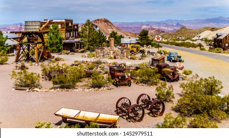 El Dorado Canyon, Nevada/USA - June 10 2019: Vintage buildings and vehicles used in old movies are still on display in the old mining town of El Dorado in the Eldorado Canyon in the Nevada Desert