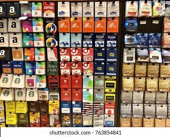 EL DORADO HILLS, CA, USA - NOV 6, 2017: Safeway grocery store gift certificate aisle with various cards.