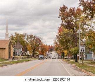 EL DORADO SPRINGS, MO/USA - NOVEMBER 4, 2018: A quiet autumn morning on Main Street, near the downtown area El Dorado Springs.
