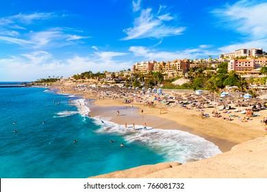 El Duque beach and coastline in Tenerife. Adeje coast Canary island, Spain