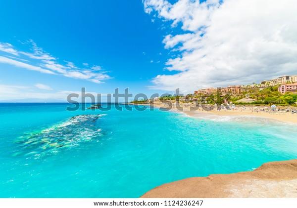 El Duque Strand an der Costa Adeje. Teneriffa, Kanarische Inseln, Spanien