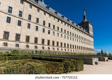 El Escorial, Spain - 20 October, 2017: The Royal Site of San Lorenzo de El Escorial, a historical residence of the King of Spain near Madrid