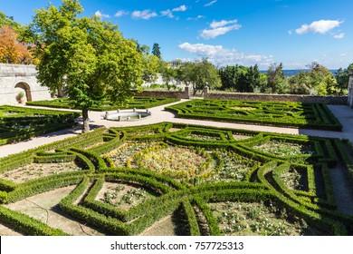 El Escorial, Spain - 20 October, 2017:  Gardens of the Royal Site of San Lorenzo de El Escorial, a historical residence of the King of Spain near Madrid.