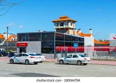 EL ESCORIAL, SPAIN - MAR 5, 2014: Escorial RENFE Railway Station, Madrid, Spain. Renfe is the lieading Spanish railway operator