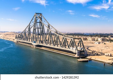 El Ferdan Railway Bridge, the longest swing bridge in the world, runs from the west of the Suez Canal to the east into Sinai, opens most of the time to allow sailing ships to pass in the canal
