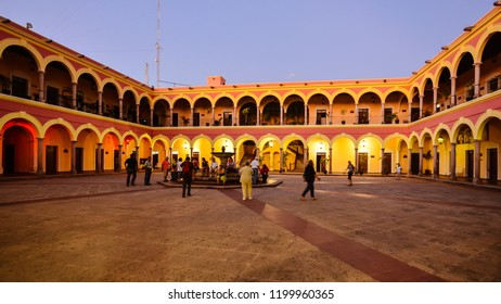 El Fuerte, Mexico - Oct. 31, 2016: Quadrangle at center of Palacio Municipal, municipal building of El Fuerte, Sinaloa, Mexico.