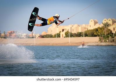 EL GOUNA, EGYPT - NOVEMBER 8: Wakeboarding friendly fun seasonal competition held on 8th of November 2016 at SLIDERS wake cable park, El Gouna.
