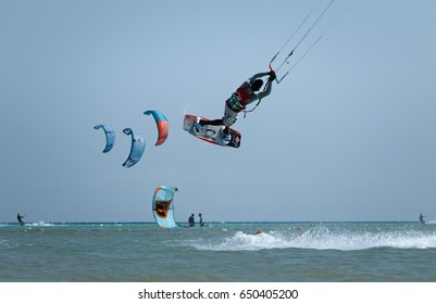EL GOUNA, EGYPT - OCTOBER 16: KiteJamboree friendly fun kite boarding seasonal competition held on 16th of October 2016 at REDSEAZONE Kite Station, El Gouna.