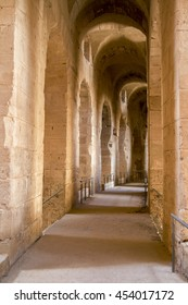 El Jem. Tunisia. Pictured here is the enfilade in the amphitheatre.