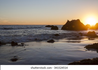 El Matador Beach in Malibu, California at sunset.