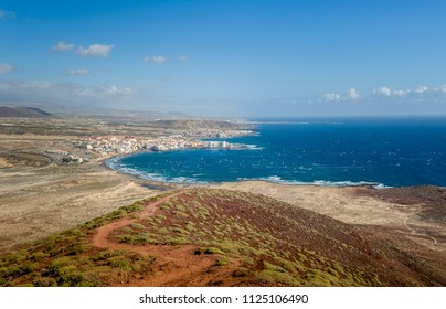 El Medano bay - popular kiteserfing and windsurfing spot. View from The Red Mountain. Spain, Canary islands, Tenerife.