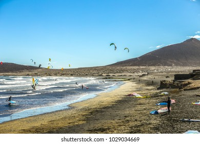 El Medano beach with kite and wind surfers