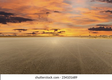 El Mirage dry lake with sunset in California's Mojave desert