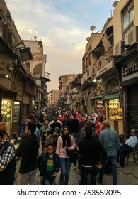 El Moez Street, Cairo, Egypt, November 24 ,2017 : People Walking Through Oldest Islamic Streets of Old Cairo