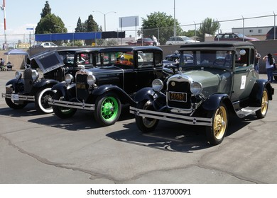 EL MONTE, CALIFORNIA, USA - SEPTEMBER 23:A variety of vintage cars on display at the El Monte Airshow on September 23, 2012.  A 1929 Ford Model A with 4-cylinder 201 cu in engine and 40 hp.
