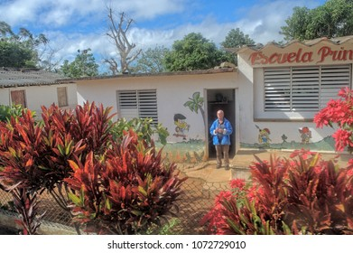 EL NICHO, CUBA - January 8, 2018: A primary school in the Cuban province.