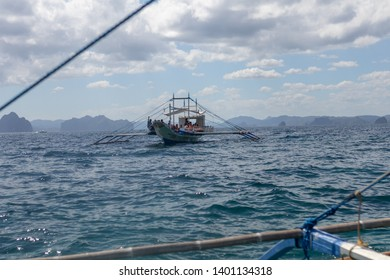 El Nido, Palawan - 26FEB2019 - Boat full of tourists in El Nido, Palawan.