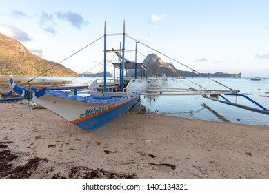 El Nido, Palawan - 26FEB2019 - Boat on beach in El Nido, Palawan, Philippines..