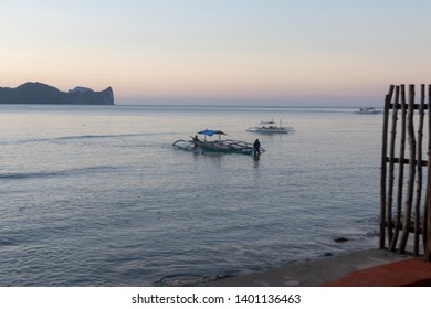 El Nido, Palawan - 26FEB2019 - Fishing boats in El Nido, Palawan during sun set.