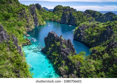 El Nido, Palawan, Philippines, aerial view of beautiful lagoon and karst scenery.