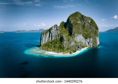 El Nido, Palawan, Philippines. Aerial drone panoramic picture of Pinagbuyutan Island from the distance