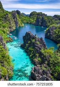El Nido, Palawan, Philippines, aerial view of beautiful lagoon and limestone cliffs.
