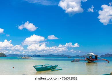 El Nido, Palawan, Philippines. April 25, 2017. Beautiful tropical islands, Filipino boats in the sea. Scenic tropical landscape, Southeast Asia.  Sea bay scenery.