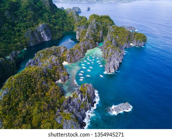 El Nido, Philippines big lagoon , small lagoon from drone in Palawan. Hidden paradise. Blue Lagoon.