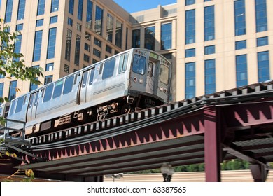 The El. Overhead commuter train in Chicago.