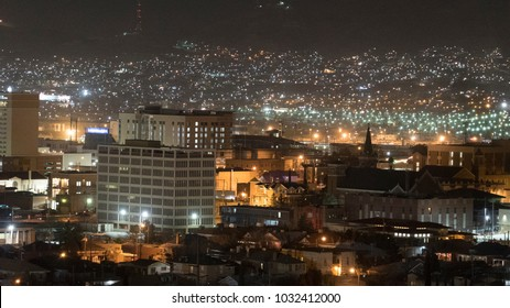 El Paso Cityscape Buildings and Neighboorhood at Night with Juarez Mexico Mountains in Background