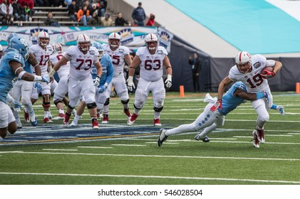 EL PASO  ?? DECEMBER 30.   JJ Arcega-Whiteside being tackled by M.J. Stewart at the University of North Carolina v Stanford in the Hyundai Sun Bowl, Dec 30, 2016 El Paso, Texas.