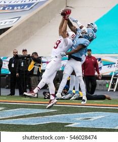 EL PASO ?? DECEMBER 30.    Play for the ball in the end zone at the University of North Carolina v Stanford in the Hyundai Sun Bowl, Dec 30, 2016 El Paso, Texas.