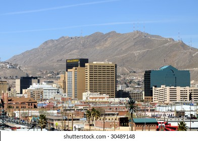 EL PASO - FEB 27: Downtown El Paso seen from Mexico on February 27, 2009 in El Paso. El Paso is one of the main gateways for smuggled drugs and people from Mexico.