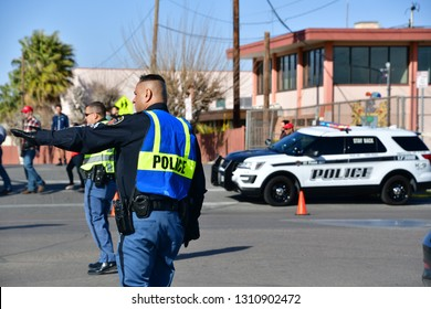 El Paso police block roads and direct traffic prior to President Trump's arrival. El Paso, Texas 11 February 2019
