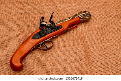 El Paso, Texas - 20 February 2019: A very fine replica of a Chinese flintlock