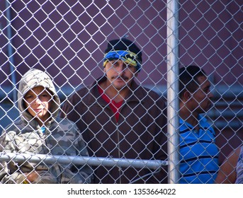 El Paso, Texas - 29 March 2019: Migrants held under the international bridge. A huge influx of undocumented migrants crossing the border.