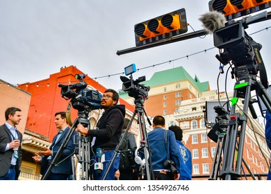 El Paso, Texas - 30 March 2019: Unidentified media photographers at the launching of Democrat Beto O'Rourke Presidential campaign.