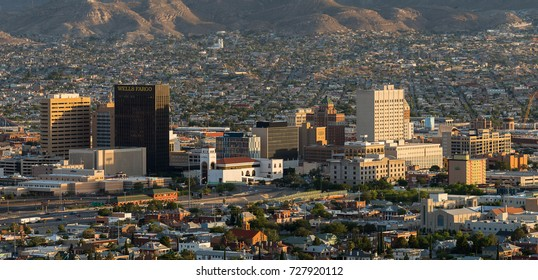 EL PASO, TEXAS - AUGUST 10: El Paso skyline from the Scenic Drive Overlook on August 10, 2017 in El Paso, Texas