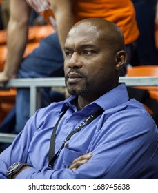 EL PASO, TEXAS -Â?Â? DECEMBER 28.  Tim Hardaway former point guard for the Miami Heat watches the game in the Invitational Tournament on December 28, 2013 in El Paso, Texas.