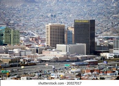 EL PASO, TEXAS - FEB 25: Downtown El Paso, Texas, with a busy border crossing and houses on the mountain ridge on the Mexican side of the border, on February 25, 2008.