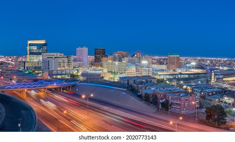 El Paso Texas Skyline at Night. Downtown El Paso Texas skyline seen just after sunset.