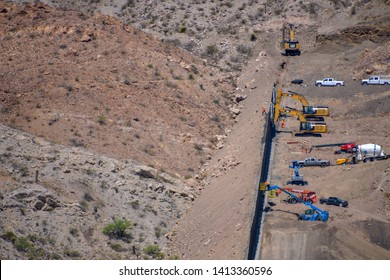 """El Paso, Texas, / USA- 1 June 2019 Border wall being built by private funds by the group """"We Build The Wall"""" is generating much controversy in the Borderland."""