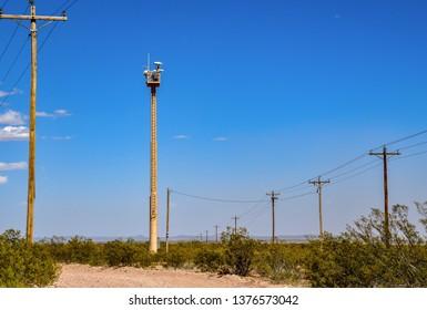 El Paso, Texas / USA -20 April 2019: Border Patrol surveillance tower on New Mexico highway 9.