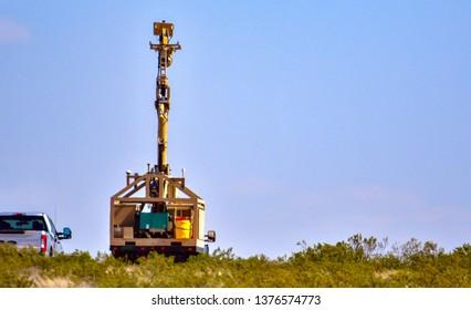El Paso, Texas / USA -20 April 2019: Mobile US Border Patrol surveillance system on New Mexico highway 9 near El Paso, Texas.