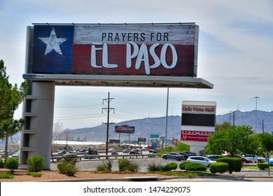 El Paso, Texas / USA - 8 August 2019  Prayers for El Paso reads a billboard close to where the Walmart mass shooting took place in Cielo Vista Mall.