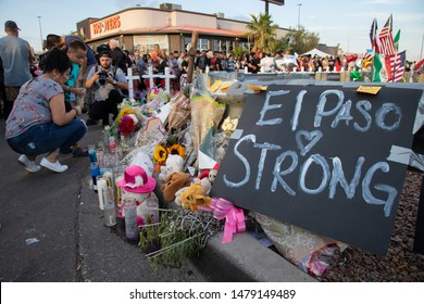 EL PASO, TEXAS / USA - AUGUST 5 2019:  Memorial to  Victims of the El Paso Attack
