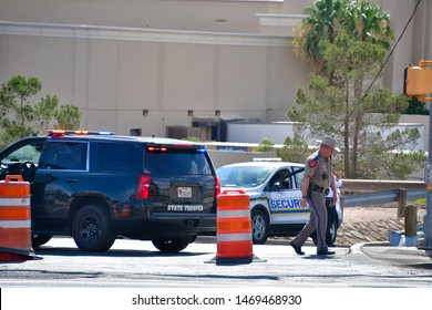 El Paso, Texas USA: Circa August 2019    Mass shooting in El Paso, Texas near Cielo Vista Mall, a busy shopping venue. Police locked the entire place down and tied up traffic in a huge area.