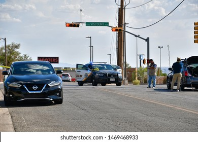 El Paso, Texas / USA - Circa August 2019 Mass shooting in El Paso, Texas near Cielo Vista Mall, a busy shopping venue. Police locked the entire place down and tied up traffic in a huge area.